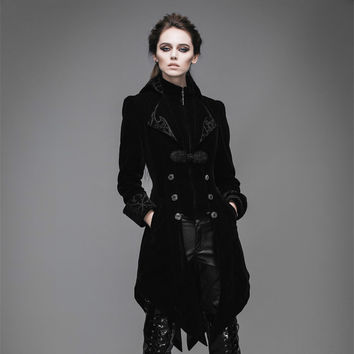Punk Women Palace Vintage Dust Coat Black Wind Red Show Thin Dovetail Female Trench Coat