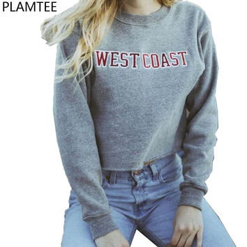 Moletom Feminino 2016 Autumn Letters Printed Short Sweatshirts Women Gray Hoodies Harajuku West Coast Cropped Sweatshirts