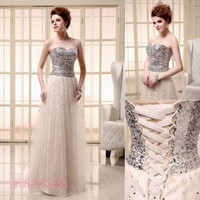Ladies Blush Sequins Formal Wedding Party Long Prom Cocktail Club Dresses