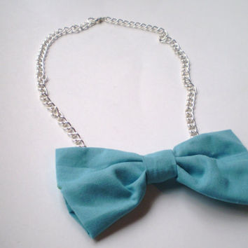 Powder Blue Bowtie Necklace