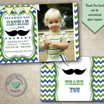 Little Man Birthday Party - Mustache Party - Birthday Invitation - Little Man Invitation - Mustache Invitation