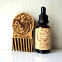 Beard Oil Kit Holy Beard Oil + Wooden Beard Comb Targaryen Game of Thrones Gift Set for Bearded Men Beard Care Beard Grooming Set For Him