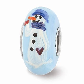 Fenton Blue Hand Painted Snowman Glass & Sterling Silver Charm