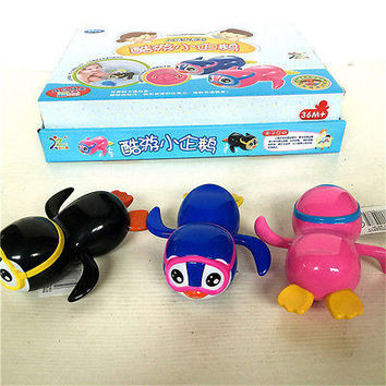 Swimming Penguin Bath Chain Toy Small Animal Born Baby Bath Toy HU