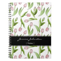 Pink Tulip Floral Patten Modern Chic Personalized Notebook