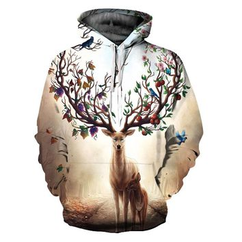 New Arrivals Men/Women 3d Sweatshirts With Hat Print Flowers Fruit Antlers Deer Thin Hooded Hoodies