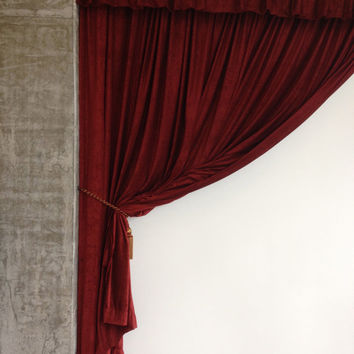 Luxurious Burgundy Velvet Curtain 10ft High Long Panel FR NFPA 701 Flame Resistant, Fire Retardant Drapery Theatrical Stag Background Drape
