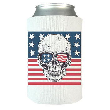 USA Skull Can Wrap, Can Wrap, Beer, Can Cooler, Beer Holder, Can Holder, Beer Wrap, Beer Cooler, Can Insulator, USA, US Flag, America