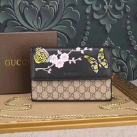 GUCCI WOMEN EMBROIDERED LEATHER CHAIN SHOULDER BAG