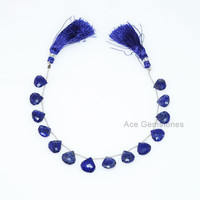 Genuine Side Drilled Blue Lapis Beads Briolette Semiprecious Gemstone Heart Beads, Strand 8 Inches