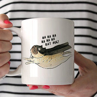 Bat Pug Mug // Made in the USA // Original Pug Illustration // Pug Mug // Pug Cup // Love Pugs