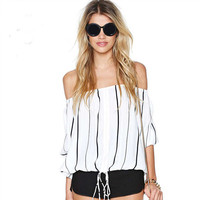 Black And White Stripes Off Shoulder Elastic Waist Chiffon  Blouse