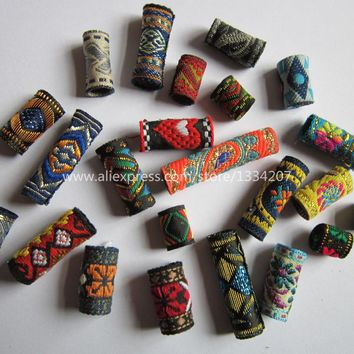 15Pcs/Lot mix fabric hair braid dread dreadlock beads clips cuff approx 8-12mm hole