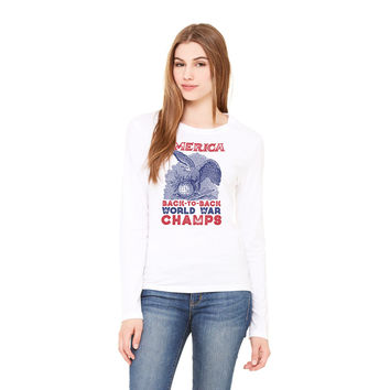 America Back To Back World War Champs Long Sleeve Ladies T-Shirt