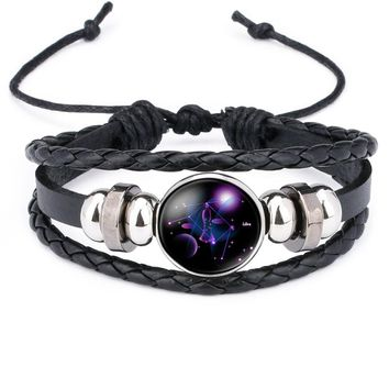 NingXiang Women Fashion 12 Constellation  Handmade Leather Bracelets Black Weave Multi Layer Punk Rock 12 Zodiac Charms Jewelry