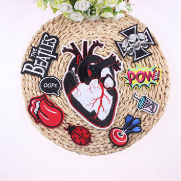 1Pcs Sell Punk Rock Heart Patch Badges For Clothes Stickers Iron On Cheap Embroidered Biker Patches For Clothing Accessories