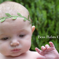 Green leaf headband, leaf flower crown, newborn baby crown, newborn headband, hippie headband, leaf headband, greek headband READY TO SHIP
