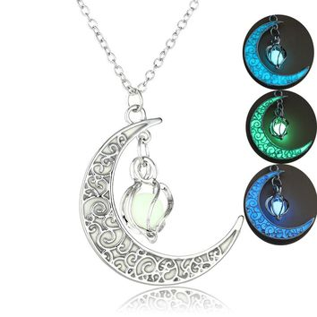 ERLUER Hot sale hollowed-out spiral moonlight pendant necklace Glow In The Dark Vintage Moon luminous Charm Necklaces Women Men