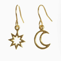 Star and Moon Earrings - Small