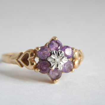 Vintage 9ct Gold Diamond Ring With Platinum and Amethyst - Gold Engagement Ring - Anniversary Gifts For Women - Amethyst and Gold Ring