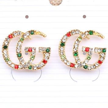 Free Shipping-GUCCI New Personality Wild Shiny Color Diamond Double G Letter Earrings