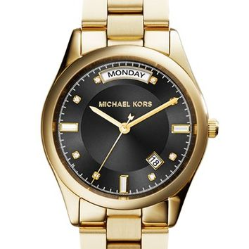 Women's Michael Kors 'Colette' Round Bracelet Watch, 34mm - Gold/ Black