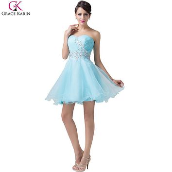 Light Blue Grace Karin Cocktail Dresses 2017 Sweetheart Cute Strapless Voile Knee Kength Short Formal Dress Party Ball Gowns
