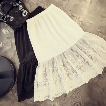 Spring and summer chiffon patchwork gauze fish tail basic underskirt gauze lace half slip short bust skirt