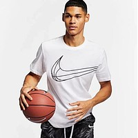 Nike Newest Summer Round Collar Breathable Basketball Sport T-Shirt Top White