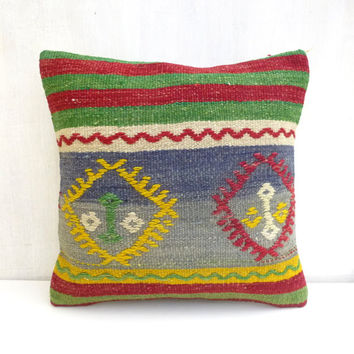 Tribal Kilim Throw Pillow with vibrant colors