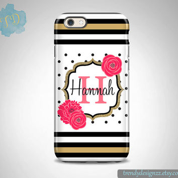 iPhone case, Personalized iPhone case, iPhone 6 case iPhone 6 plus Monogram Samsung S6 Edge S5 S4 case, Gold Beige Hot Pink Case (18)