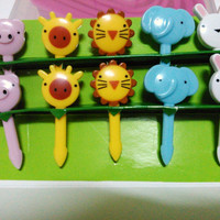 Set of 10 Cute animal cupcake topper, bento picks, party food topper id13005711