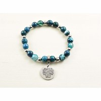 Genuine Agate Inspirational Bracelet - Navy - Serenity Prayer