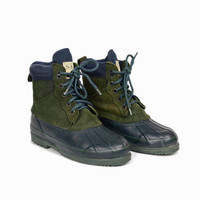 Vintage Duck Boots / Blue Green Winter Boots - women's 6