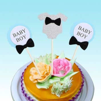 cake toppers baby girl boy paper cards banner for fruit Cupcake Wrapper Baking Cup  tea party wedding decoration baby shower Wh
