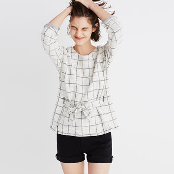 Windowpane Tie-Front Top : | Madewell