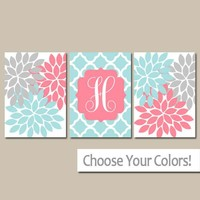Coral Aqua Nursery Wall Art, Baby Girl Decor, Coral Aqua Monogram Flowers, Above Crib Decor, Bedroom Wall Decor, Set of 3, Canvas or Prints