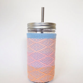 Mason Jar Drinking Glass Tumbler and Wool Cozie with Stainless Steel Straw - Limited Edition Ombre Sunset