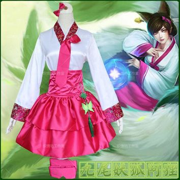 The Nine-Tailed Fox Ahri Kimono Cosplay Costume Full Set Dress ( Top + Skirt + Headwear + Leglet + Chinese Knot )