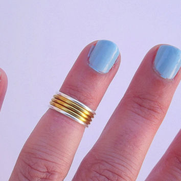 Stacking Rings -  Knuckle Rings  - Mid Knuckle Rings - Above Knuckle Rings -  You Chose Color - Gift Under 20 - Set of 6 by Tiny Box