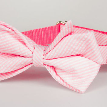 Pink Seersucker Belle Bow Dog Collar