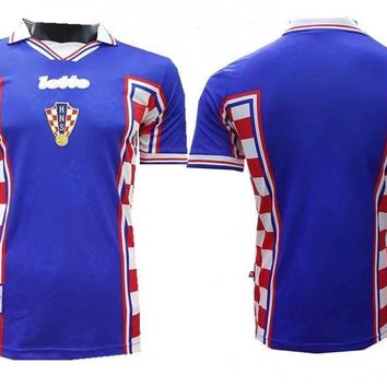 KUYOU Croatia 1998 World Cup Away Men Soccer Retro Jersey Personalized Name and Number
