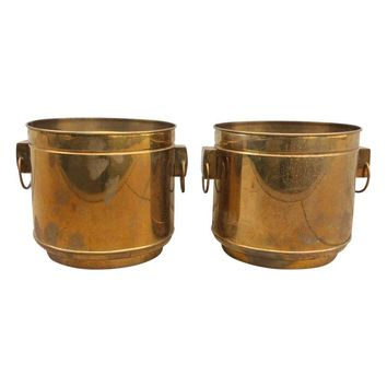 Pre-owned Large Vintage Modern Brass Planters