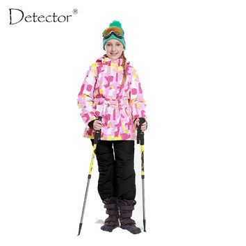 Detector 2016 Girls Ski Set Winter Warm Ski Jacket Chilldren Outdoor Waterproof Windproof Snowboard Suit