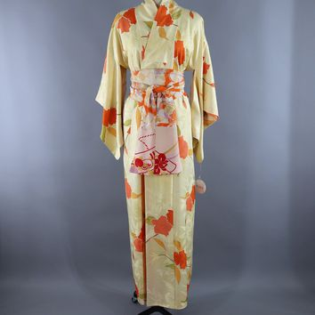 Vintage 1960s Silk Kimono Robe / Pastel Yellow Orange Floral Print