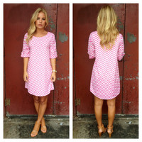 Pink & White Chevron Shift Dress