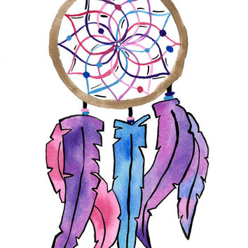 Original dream catcher watercolor print. 8.5x11 Print.