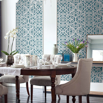 Ironwork Beads Wallpaper in Metallic and Blues design by Seabrook Wallcoverings