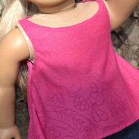 American Girl Doll clothes, 18 in Doll Clothes- 2 pc outfit, Pink twirly top and jean skirt