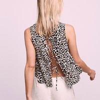 Free People Andrea Tie Back Tank Leopard